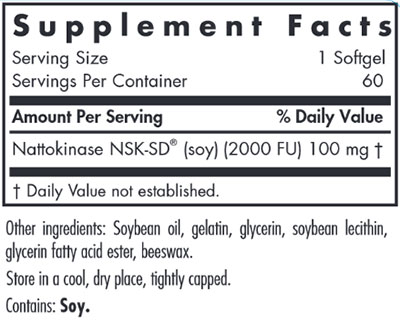 Allergy Research Group Nattokinase 100 mg NSK-SD 60 gels Supplement Facts