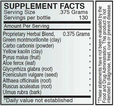 The supplement facts for Detox 2 by Byron White