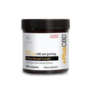 CV Sciences Plus CBD oil 10mg cherry mango gummies container