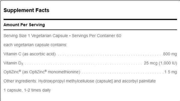 Douglas Labs C-D-Zinc Supplement Facts