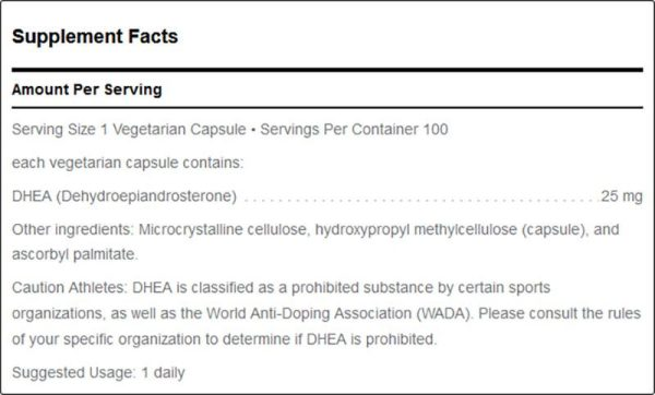 Douglas Labs DHEA micronized 25 mg supplement facts