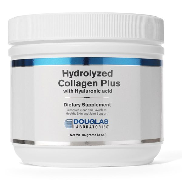 A container of 84 grams of Hydrolyzed Collagen Plus with Hyaluronic acid