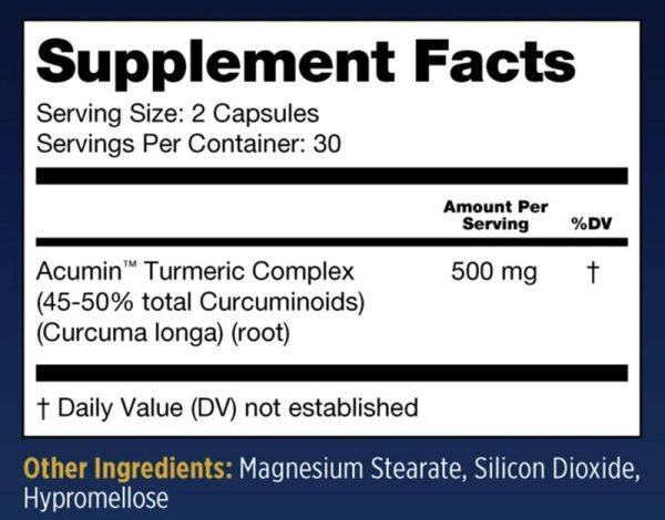 Dr. D's Ultra BioTurmeric Supplement Facts