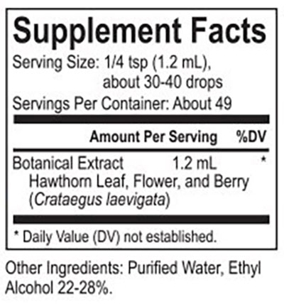 The supplement facts for Core Hawthorn by Energetix