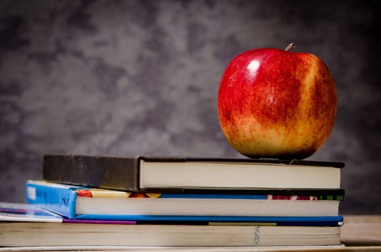 Red apple sitting on top of a stack of school books