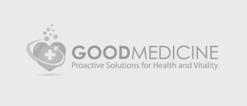 Gray Good Medicine logo on a light gray background