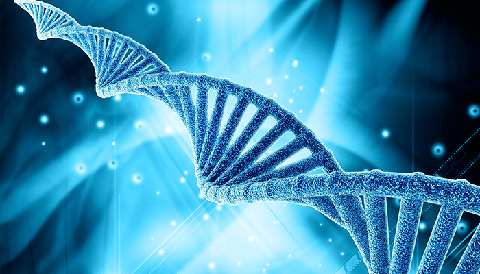 3D graphic of DNA strand on an abstract background.