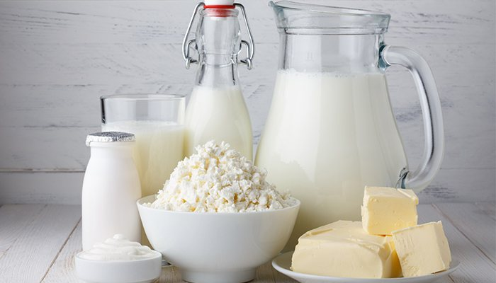 All sorts of dairy, such as milk, butter, and cheese.