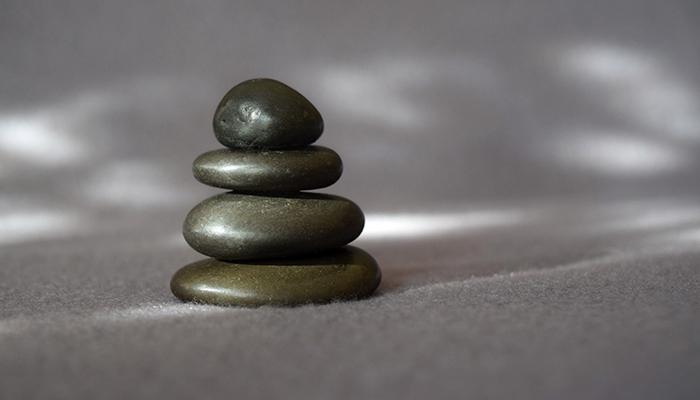 Small stack of 4 smooth rocks