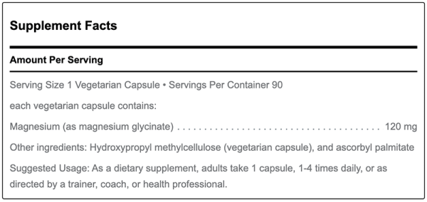 Supplement facts for magnesium by Douglas