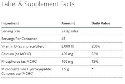 Metagenics Bone Builder Forte Supplement Facts