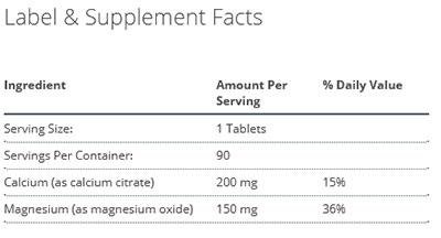 Metagenics Bone Builder Vegetarian Supplement Facts