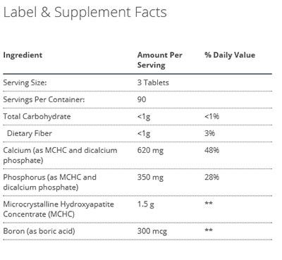Metagenics Bone Builder with Boron Supplement Facts