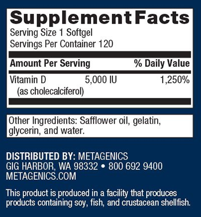 Metagenics D3 5000 Supplement Facts