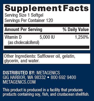 Metagenics D3 5000 Supplement Facts