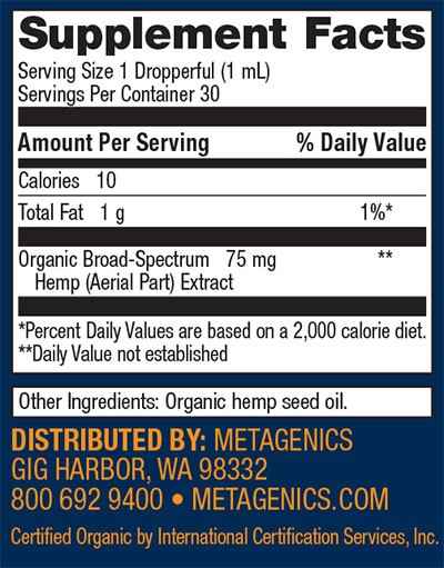 Metagenics Hemp Oil Supplement Facts