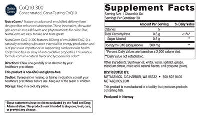 Metagenics NutraGems CoQ10 300 Supplement Facts