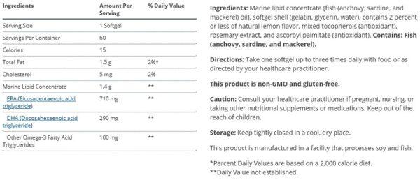 Metagenics Omegagenics EPA-DHA 1000 Supplement Facts