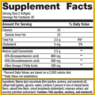 Metagenics Omegagenics EPA-DHA 720 Supplement Facts