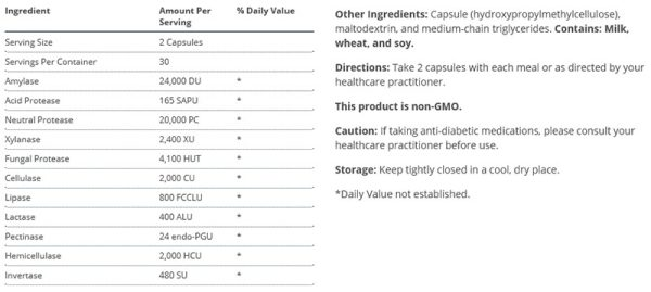 Metagenics SpectraZyme Complete Supplement Facts