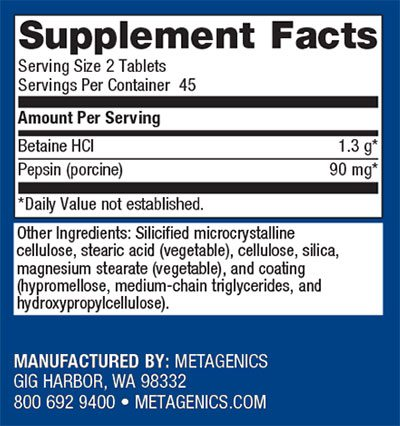 Metagenics SpectraZyme Metagest Supplement Facts