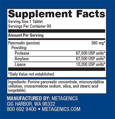 Metagenics SpectraZyme Pan 9x Supplement Facts