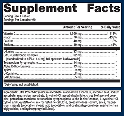 Metagenics Ultra Potent C 1000 Supplement Facts