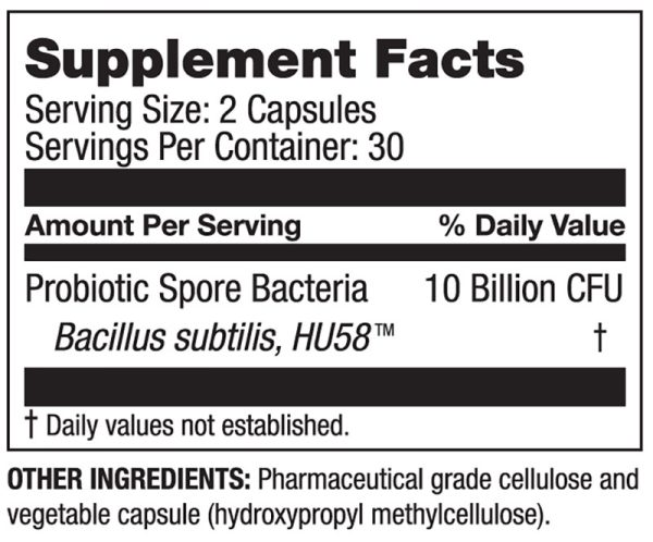 The supplement facts for HU58 by Microbiome Labs