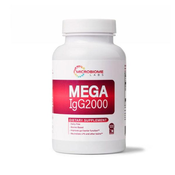 The front of bottle MegaigG2000 by Microbiome Labs