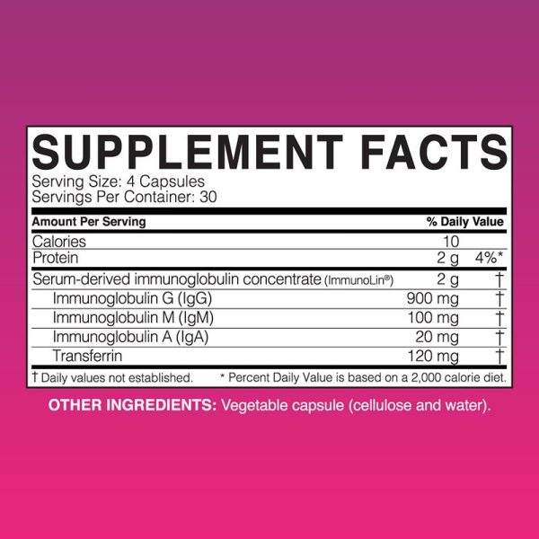 The supplement facts for MegaigG2000 by Microbiome Labs