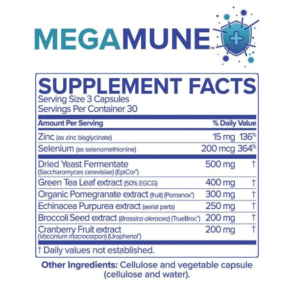 The supplement facts for MegaMune by Microbiome Labs