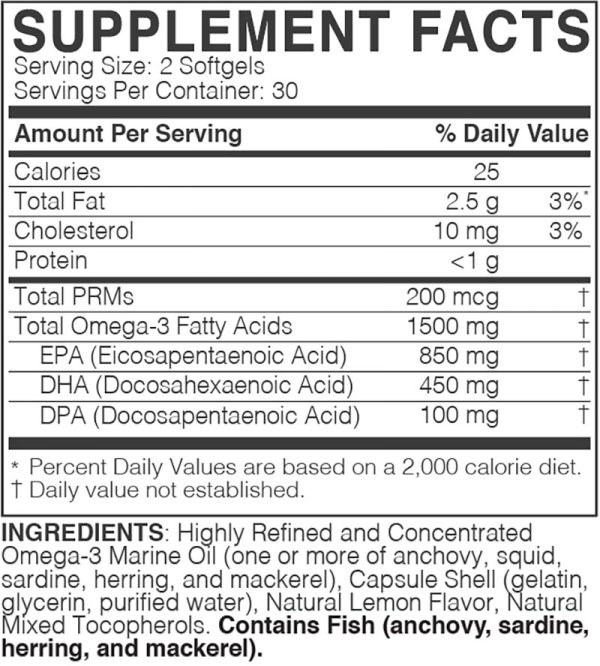 The supplement facts for MegaOmega by Microbiome Labs