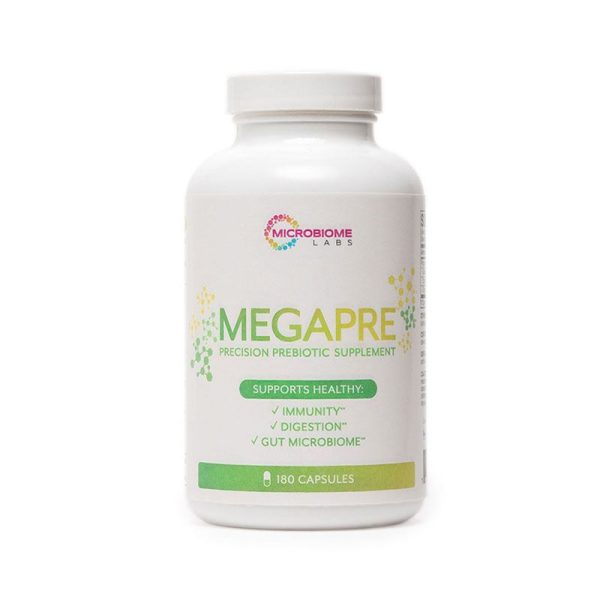 The front of bottle MegaPre Capsules by Microbiome Labs