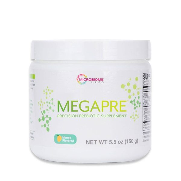 The front of bottle MegaPre Powder by Microbiome Labs