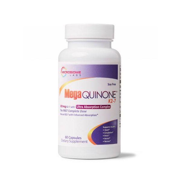The front of bottle MegaQuinone K2-7 by Microbiome Labs