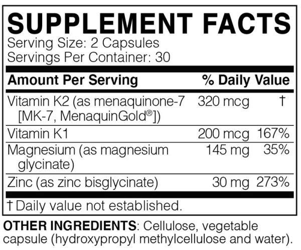 The supplement facts for MegaQuinone K2-7 by MicrobiomeLabs