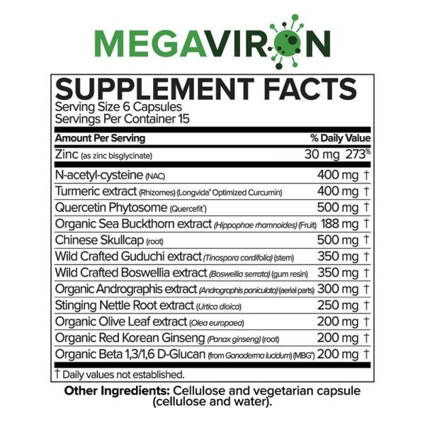 The supplement facts for MegaViron by Microbiome Labs