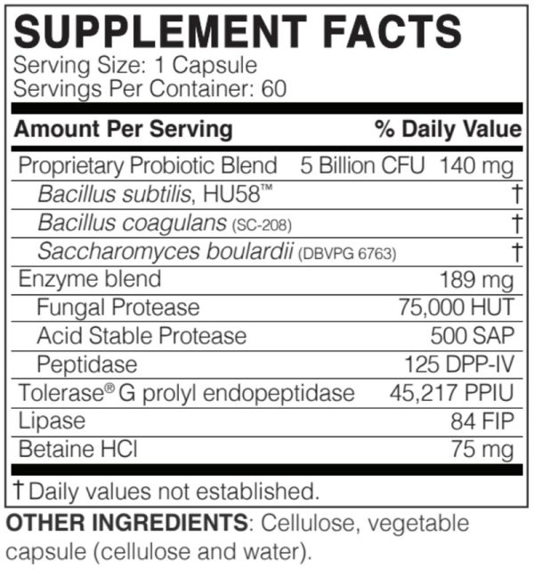 The supplement facts for WheatRescue by Microbiome Labs