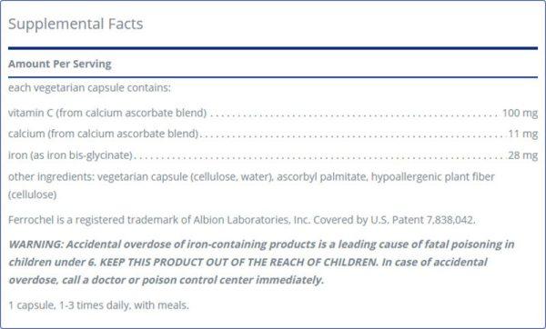 Optiferin-C Facts Label