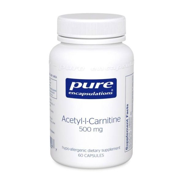 The front of bottle Acetyl-l-Carnitine 500 mg by Pure Encapsulations