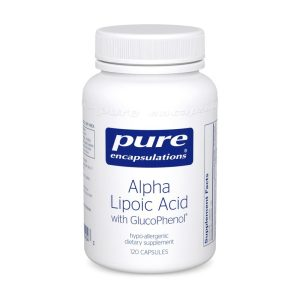 The front of bottle Alpha Lipoic Acid with GlucoPhenol by Pure Encapsulations