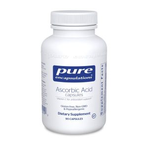The front of bottle Ascorbic Acid Capsules by Pure Encapsulations