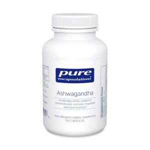 The front of bottle Ashwagandha by Pure Encapsulations