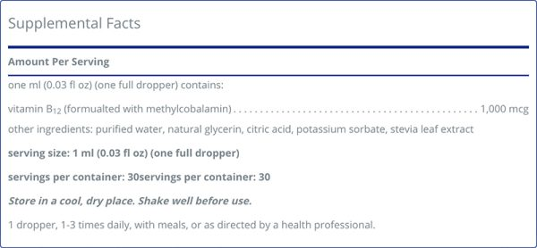 The supplement facts for B12 Liquid By Pure Encapsulations