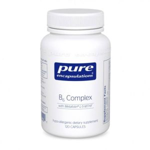 The front of bottle B6 Complex by Pure Encapsulations