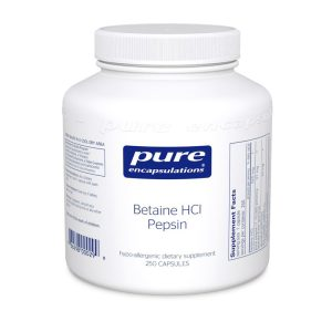 The front of bottle Betaine HCl Pepsin by Pure Encapsulations