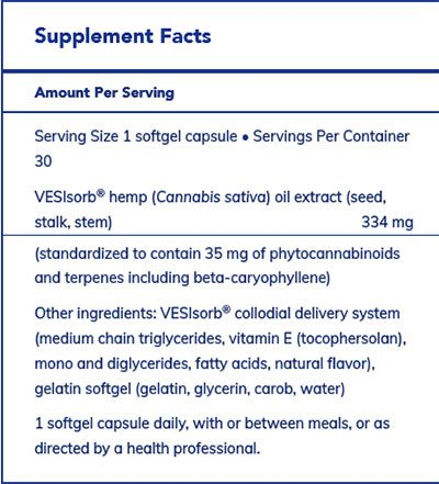 Pure Encapsulations Hemp Extract Vesisorb Supplement Facts