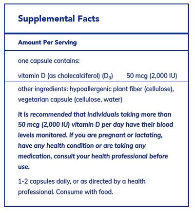 Pure Encapsulations Vegan Vitamin D Supplement Facts
