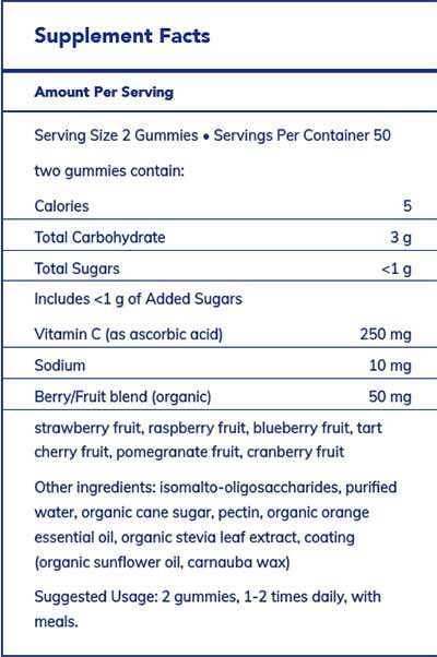 The supplement facts for Vitamin C Gummy by Pure Encapsulations
