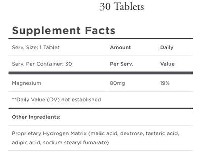 Quicksilver Scientific H2 Elite Supplement Facts